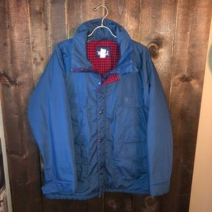 Vintage Plaid Lined Navy Blue Woolrich Winter Coat
